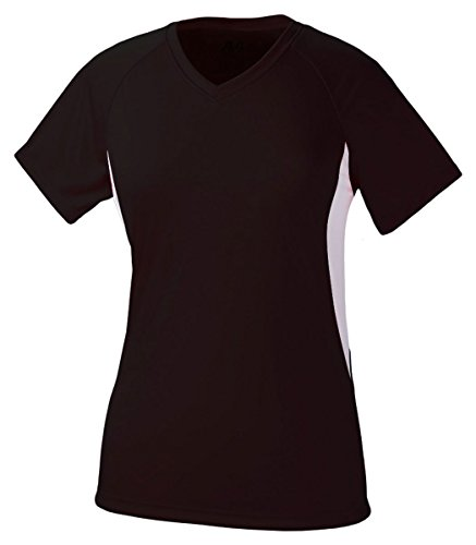 A4 Women's Cooling Performance Color Block Short Sleeve Tee, Black/White, X-Large