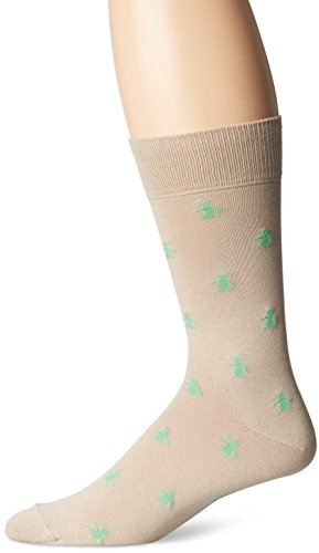 Original Penguin Men's All-Over Logo Crew Sock, Khaki, 10-13/Shoe Size 6-12 Over Logo Sock