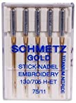 Schmetz Gold Titanium Embroidery Needles Size 75/11, 5 Count