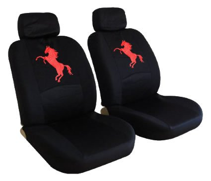 4pc Black LOW Back Seat Covers with Red Mustang Horse Pony Logo (Seat Covers Horses compare prices)