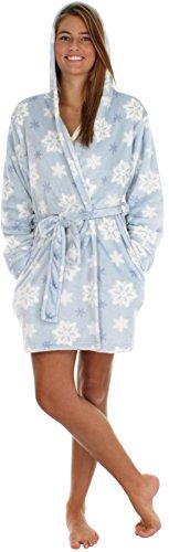 PajamaMania vesti da camera corte, 91 cm, con cappuccio, da donna, in pile Hiver Flocons de Neige Large