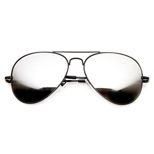 zeroUV - FULL MIRROR Mirrored Metal Aviator Sunglasses (Black Mirror)
