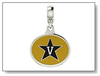Vanderbilt Commodores Collegiate Drop Charm Fits Most European Style Bracelets Including Chamilia Zable Troll and More. High Quality Bead in Stock for Fast Shipping.