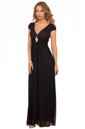 Long Full Length Maxi Rhinestone Elegant Gown V Neckline Holiday Party Dress