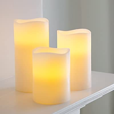 Battery Operated Wax LED Church Pillar Candles, 15cm Tall, Set of 3 by Lights4fun from Lights4fun