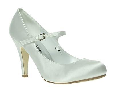 Barratts Womens Ladies White Satin Mary Jane High Heel Bridal Court Shoes Size 8 Amazoncouk