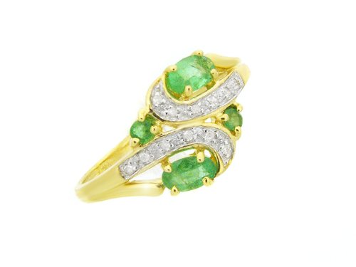 9ct Yellow gold Emerald and Diamond Ring - Size L
