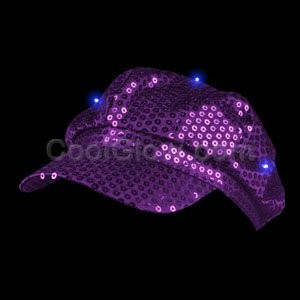 Fun Central AI316 LED Light Up Sequin Newsboy Hat - Purple