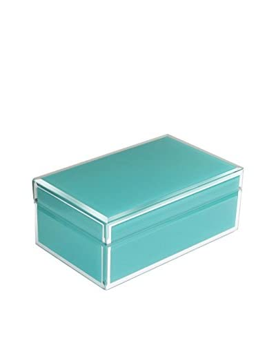 American Atelier Jewelry Box with Piping, Teal