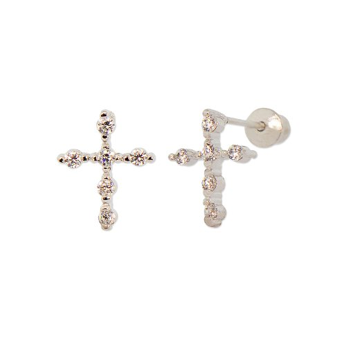 Sterling Silver, Cross Stud Earring Screw Back Lab Created Gems