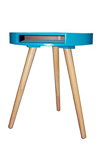 Beistelltisch Couchtisch Rund Holz Ø40cm weiss/blau/gelb 1530650 (blau)