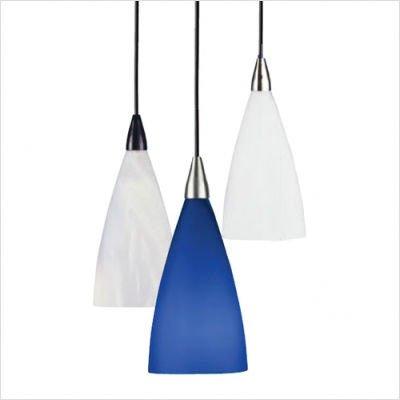 Drop French Vianne Glass Suspension - 120V Fixture Type: Compact Flourescent, Color: Blue, Finish: Black