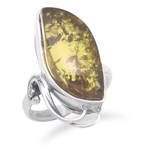 Sterling Silver Green Amber Ring with Cut Out Design / Size 9