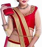 Ustaad Womens Georgette Lehenga Choli (Uhfvc_05 _Cream Red _Free Size)
