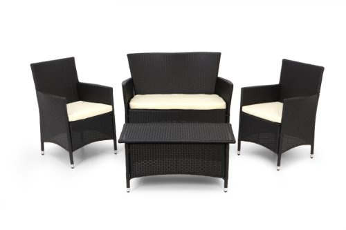 Li-Lo Ventura Conversation Set 4 Piece Luxury Indoor/Outdoor Furniture Set (Black)