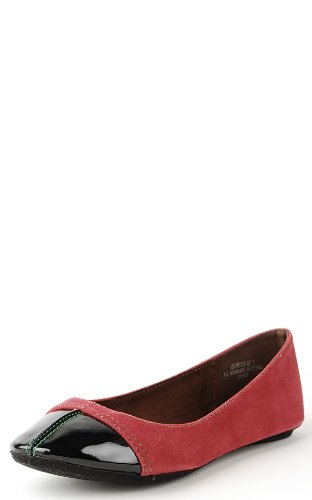 Quintus87 Patent Toe Colored Stitch Flats RED