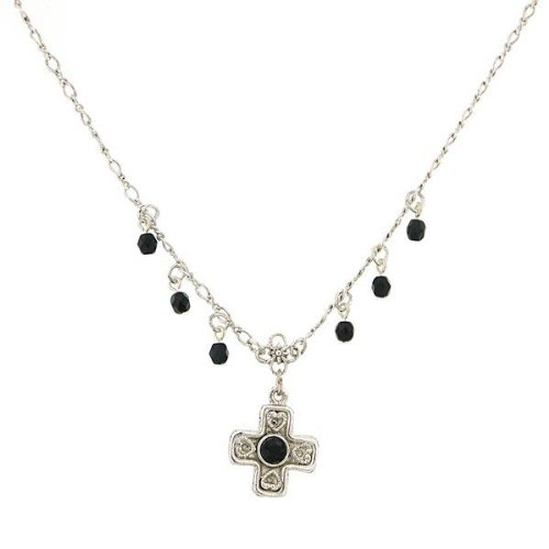 1928 Black Beads Silver Cross Necklace.