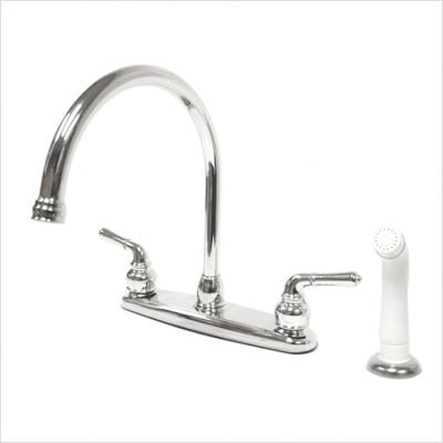 Magellan Kitchen Faucet with Modern Lever Handles and Side Spray Finish: Satin Nickel