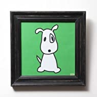 "Big Puppy in green, Canvas, Embellished with Stones and Wooden Frame (13"" x 13"", Green and White)"