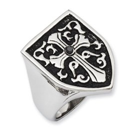 Genuine IceCarats Designer Jewelry Gift Stainless Steel Cross W/Black Diamond Antiqued Shield Ring Size 9.00