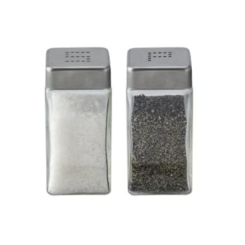 This simple, yet elegant salt and pepper shaker set are clearly identified as
