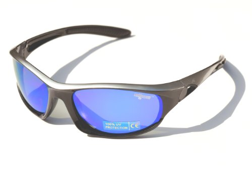 Silver & Black Ladgecom Polarised Sports Sunglasses with Revo Lens and Hard Case Picture
