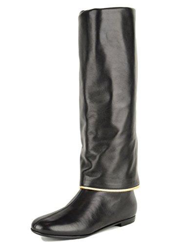 Giuseppe Zanotti Flat Boots Black Leather Zipper Detail Knee High