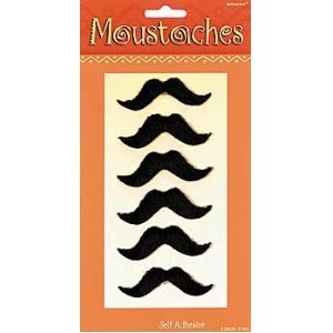 6 pc Self Adhesive Moustaches