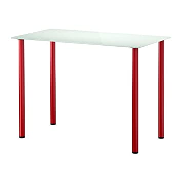 Ikea Glasholm Adils Table Verre Blanc Rouge 99x52 Cm