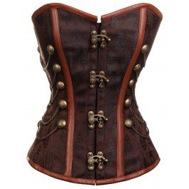 Steampunk Brown Brocade Overbust Corset Waist Size 30 inches
