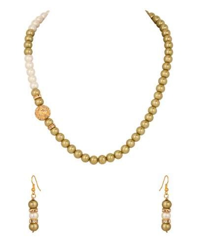 Voylla Necklace Set with Round Golden Dholki, Cz, Olive Green, White Pearls (multicolor)