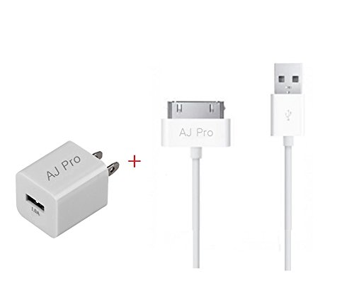 Extra Long (10ft) WHite 30 pin USB Power Cord With a 1 AMp Wall Adapter Charger for Apple iPhone 4, 4S, iPad 1,2,3-AJ Pro(TM) (Iphone 4 Charger Cord Apple compare prices)
