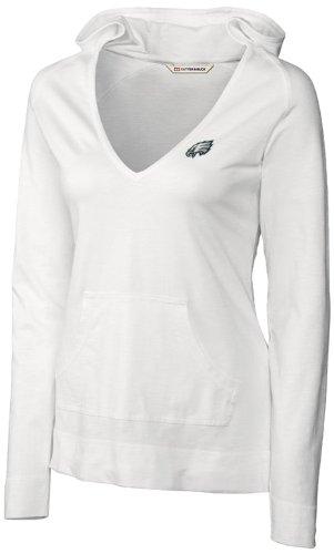 NFL Philadelphia Eagles Women's Long Sleeve Social Hooded Tee, White, Small
