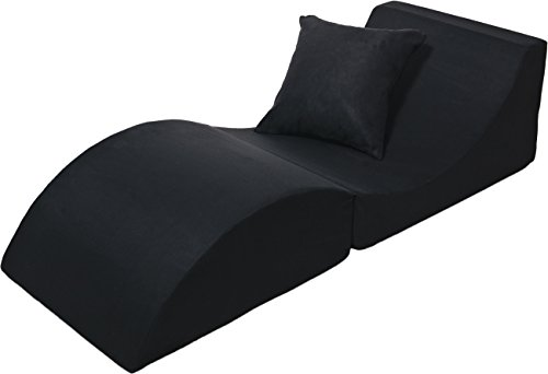 Relax Liege Relaxsofa Relaxsessel Sitzwürfel Hocker Couchtisch  Beistelltisch (Farbe:: Schwarz)