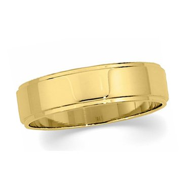 14K Yellow Gold, Flat Edged Wedding Band 6MM (sz 14.5)