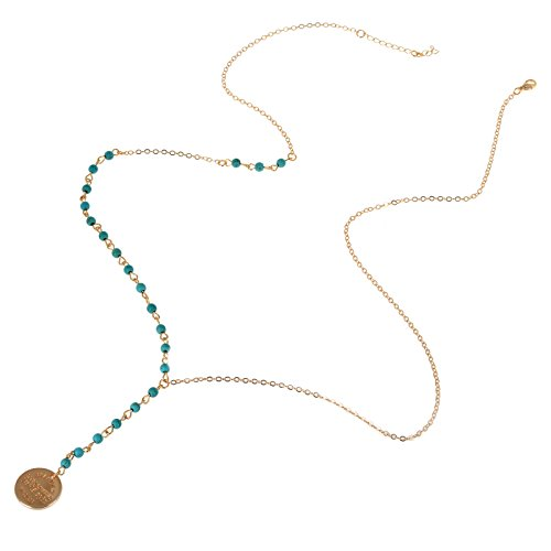 Imixlot Vintage Women Bohemia Turquoise Blue Beads with Disc Coin Long Chain Necklace Jewelry
