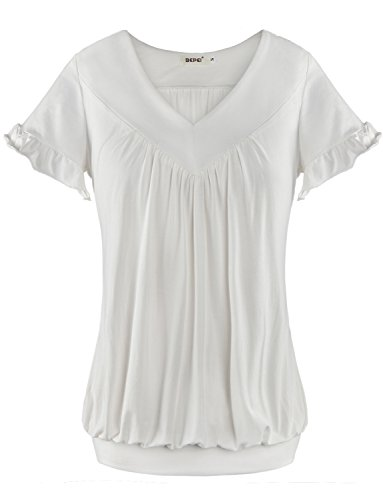 Women Tops Bepei® V Neck Short Sleeves Front Pleated Tunic Shirts Blouses White S