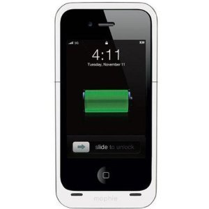 Mophie Juice Pack Air Case and Rechargable Battery for iPhone 4S / 4 (White)