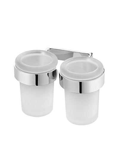 Bisk Set Vaso Baño 2 Uds. Nature Box Double Tumbler cromo