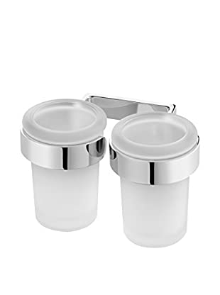 Bisk Set Vaso Baño 2 Uds. Nature Box Double Tumbler cromo
