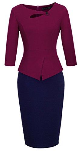 HOMEYEE Women's Elegant Chic Bodycon Formal Dress B288 (3XL, B-Carmine+Dark Blue)