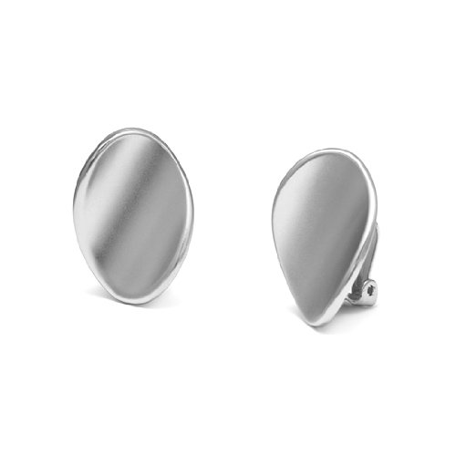 Rodney Holman Brushed Silver Warped Disc Clip On Earrings