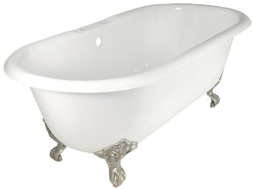 Elizabethan Classics DITAPCP Dual Tub Rim Cast Iron, White/Chrome