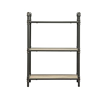 Major-Q Industrial Style 3 Tier Shelf for Living Room, Rectangular, Wood Rustic and Oak Finish, 14 x 26 x 36