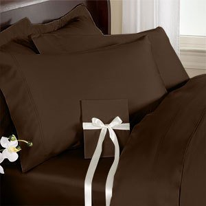 Solid Chocolate 1000 Thread Count Queen Size Sheet Set, 100% Egyptian Cotton Deep Pocket Bed Sheets 1000TC.