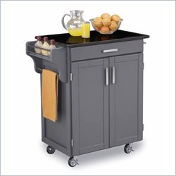 Cheap Home Styles Black Granite Top Kitchen Cart in Gray Finish (9001-0084)