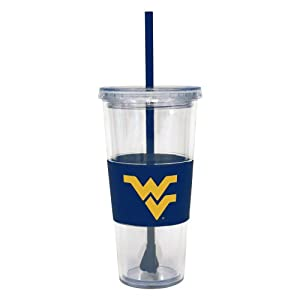 Buy NCAA West Virginia Mountaineers 22 Ounce Insulated Tumbler with Rubber Sleeve and Stir Straw by Boelter Brands