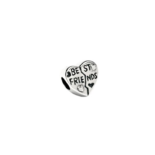 Best Friend Heart Charm in Silver for Pandora and most 3mm Bracelets