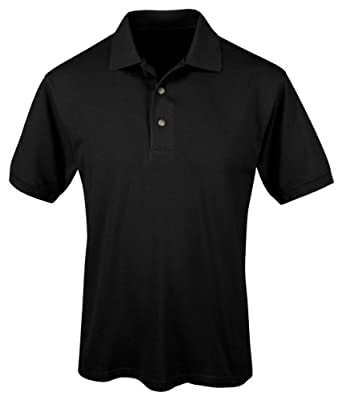 Tri-mountain Mens 60/40 Easy care short sleeve pique golf shirt. 095 - BLACK_S