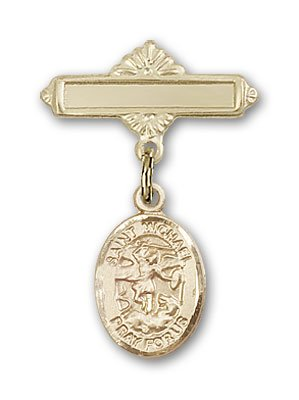 Gold Filled Baby Badge with St. Michael the Archangel Charm and Polished Badge Pin St. Michael the Archangel is the Patron Saint of Police Officers/EMTs